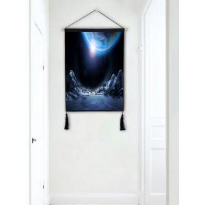 Planet Mountains Print Wall Decor Tassel Hanging Painting -
