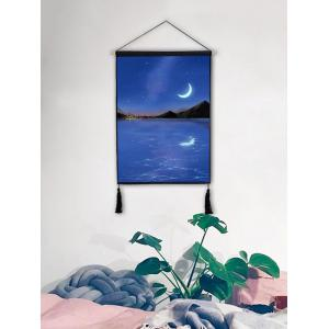 Moon Light Scenery Print Wall Rolling Tassel Hanging Painting -
