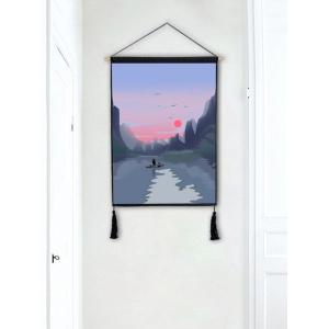Sunset River Mountians Wall Decor Tassel peinture suspendue -
