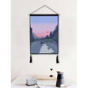 Sunset River Mountians Wall Decor Tassel Hanging Painting -