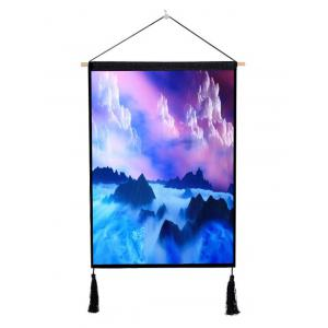 Clouds Fog Mountains Print Wall Tassel Hanging Painting Decor -