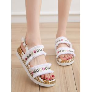 Low Heel Tribal Frayed Edge Grommet Leisure Sandals -