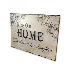 Wooden Engraved Bless Home Sign Home Decor -