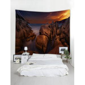Sea Rock Sunset Print Tapestry Wall Hanging Decor -