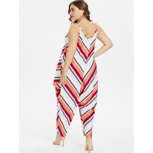 Plus Size Striped Spaghetti Strap Baggy Jumpsuit -