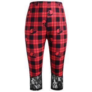 Plus Size Plaid Skull Lace Trim Capri Leggings -