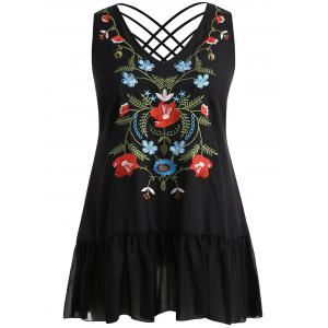 Plus Size V Neck Flounced Embroidery Tank Top -