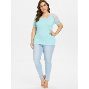 Plus Size Sheer Floral Lace Trim T-shirt -