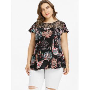 Plus Size Lace Yoke Tropical Print Blouse -