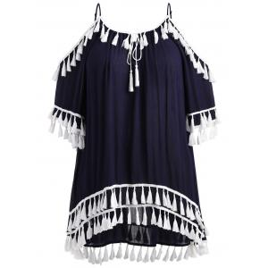 Plus Size Cold Shoulder Tassel Cover Up Dress -