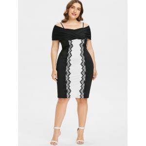 Plus Size Shoulder Baring Knee Length Fitted Dress -