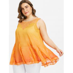 Applique Plus Size Flowy Tank Top -