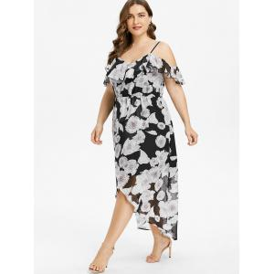 Plus Size Ruffle Cold Shoulder Maxi Dress -