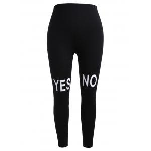 Plus Size Contrast Letter Print Leggings -
