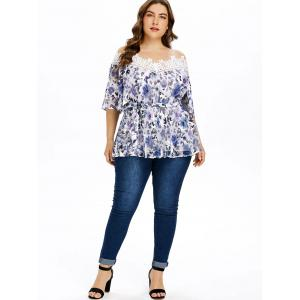 Plus Size Floral Pleated Blouse with Tie Belt -