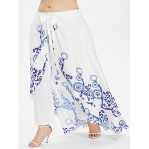 Plus Size Ethnic Pants with Skirt -