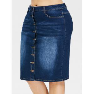 Plus Size Faded Button Up Jean Skirt -