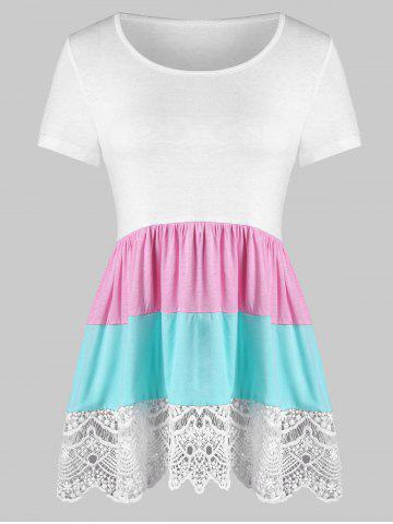 New Color Block Lace Panel Flounce Tunic Tee