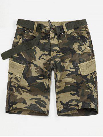 Store Flap Pocket Camo Print Cargo Shorts