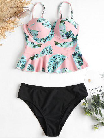 Latest High Leg Leaves Print Peplum Tankini