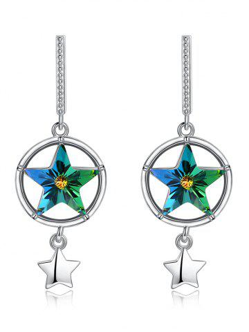 Sale Elegant Hollow Out Crystal Star Decorative Drop Earrings