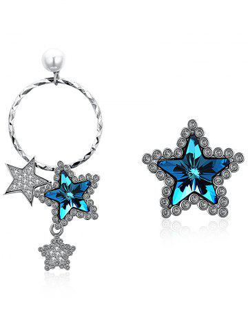 New Unique Asymmetrical Rhinestone Inlaid Star Drop Stud Earrings