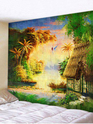 Fancy Wall Hanging Art Forest Thatching Print Tapestry