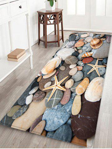 Hot Cobblestone Seashell Starfish Print Floor Rug