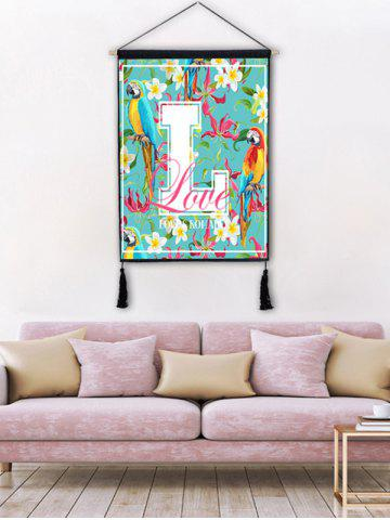 Outfit Parrot Letter Print Wall Rolling Tassel Hanging Painting