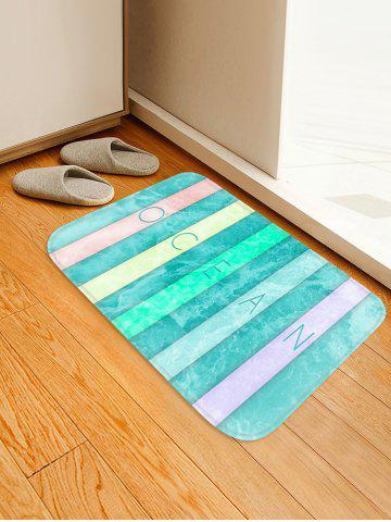 Affordable Colorful Letter Sea Wave Print Antislip Floor Rug