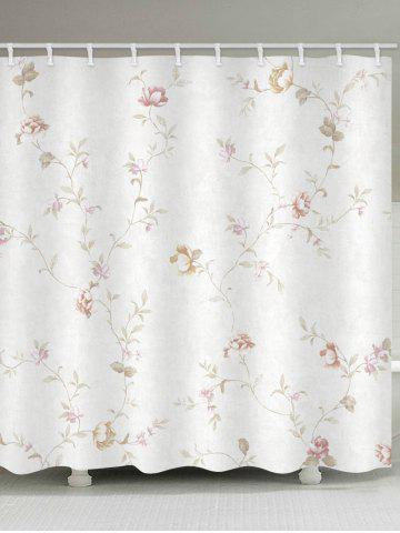 Chic Floral Branch Print Waterproof Bathroom Shower Curtain