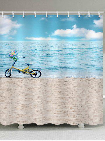 Outfit Sea-side Beach Bicycle Printed Waterproof Bath Curtain