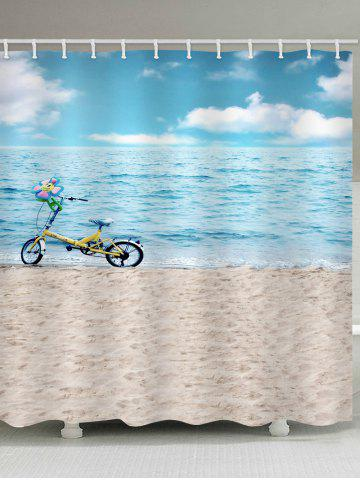 Discount Sea-side Beach Bicycle Printed Waterproof Bath Curtain