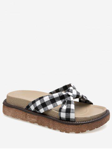 Hot Leisure Crisscross Knot Plaid Slide Sandals
