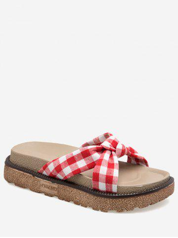 Fancy Leisure Crisscross Knot Plaid Slide Sandals