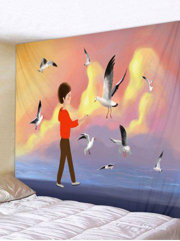 Affordable Seagull Inbetweening Tapestry Wall Hanging Decor