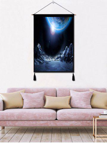 Shop Planet Mountains Print Wall Decor Tassel Hanging Painting