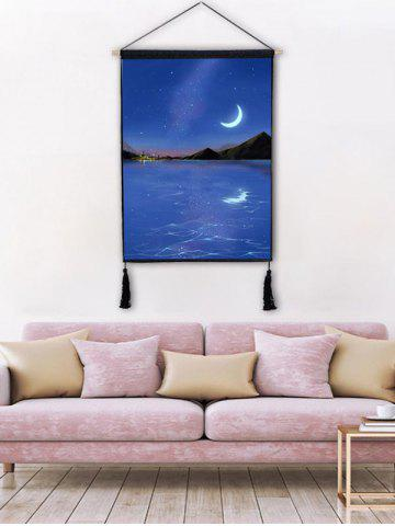 Shops Moon Light Scenery Print Wall Rolling Tassel Hanging Painting