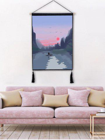 Sunset River Mountians Wall Decor Tassel peinture suspendue