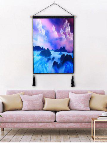 Chic Clouds Fog Mountains Print Wall Tassel Hanging Painting Decor