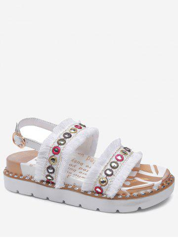 Affordable Low Heel Tribal Frayed Edge Grommet Leisure Sandals
