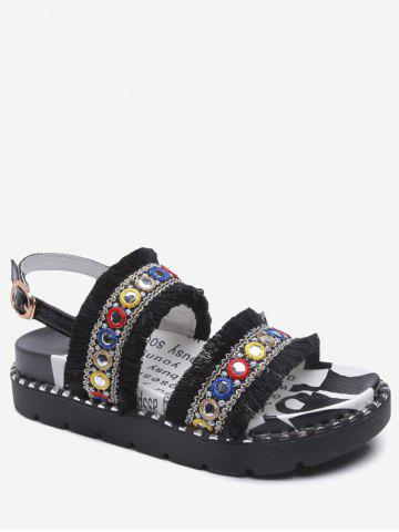 Sale Low Heel Tribal Frayed Edge Grommet Leisure Sandals