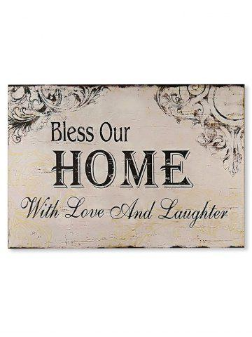 Chic Wooden Engraved Bless Home Sign Home Decor
