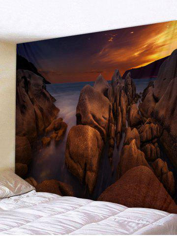 Fancy Sea Rock Sunset Print Tapestry Wall Hanging Decor