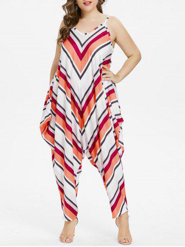 New Plus Size Striped Spaghetti Strap Baggy Jumpsuit