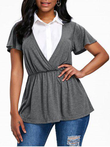 Trendy Short Sleeve Faux Twinset T-shirt