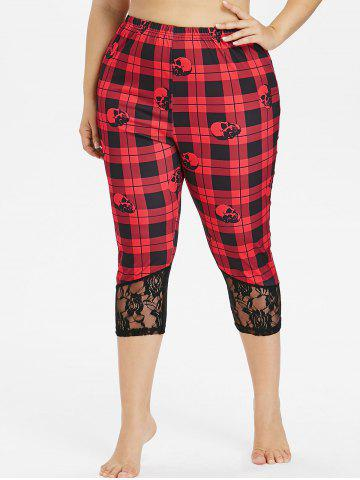 Latest Plus Size Plaid Skull Lace Trim Capri Leggings