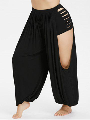 Chic Plus Size Ripped Open Harem Pants