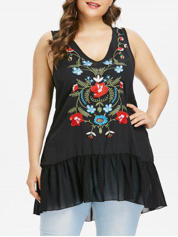 Store Plus Size V Neck Flounced Embroidery Tank Top