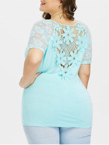 Hot Plus Size Sheer Floral Lace Trim T-shirt